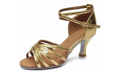 a0357972 Złote buty do tańca latino z eko skóry - obcas 5 cm lub 7 cm