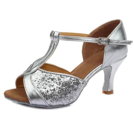 0854d8b4 Srebrne buty do tańca latino z eko skóry - obcas 7 cm