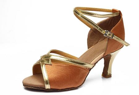 edc4f6c0 Brązowo-złote buty do tańca latino z eko skóry- obcas 5 cm lub 7 cm